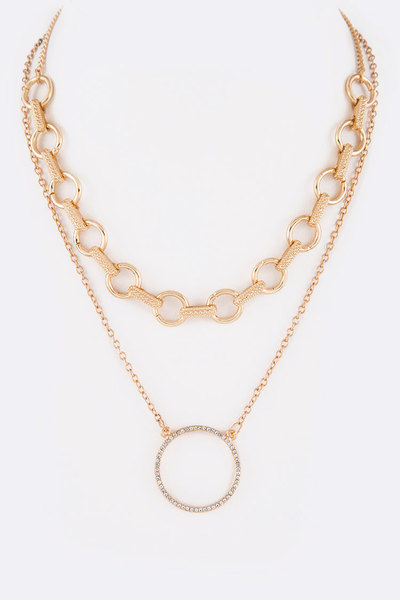 Crystal Ring Mix Chain Layer Iconic Necklace