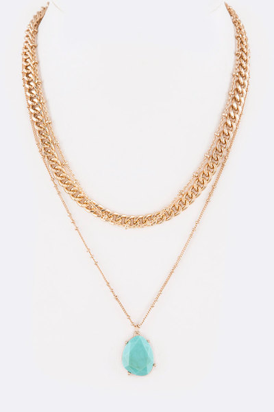 Stone Drop Mix Chain Layer Necklace
