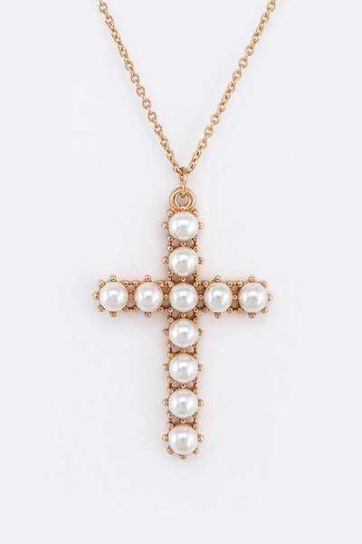 Pearl Pave Cross Layer Convertible Necklace