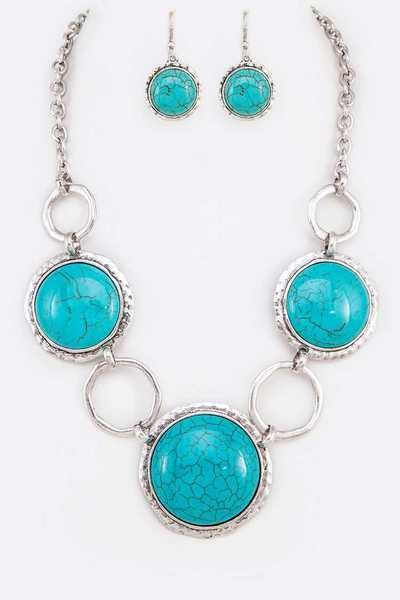 Pebble Stone Statement Necklace Set