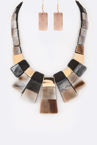 Resin Color Block Statement Necklace Set
