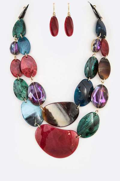 Mix Resin Crystal Layer Necklace Set