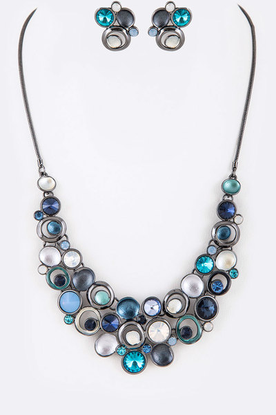 Mix Crystal Enamel Statement Necklace Set