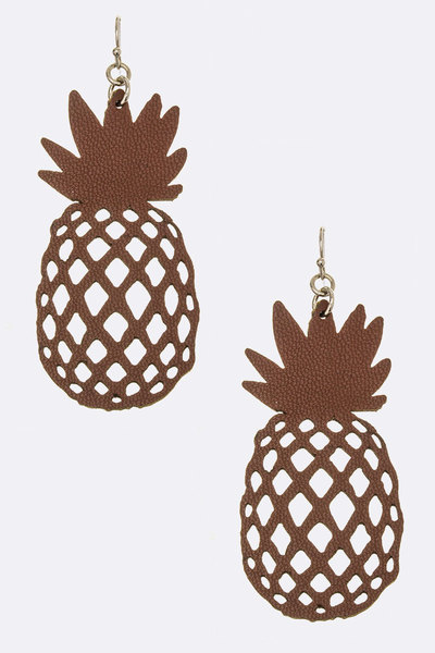Pineapple Cutout Iconic Leather Earrings