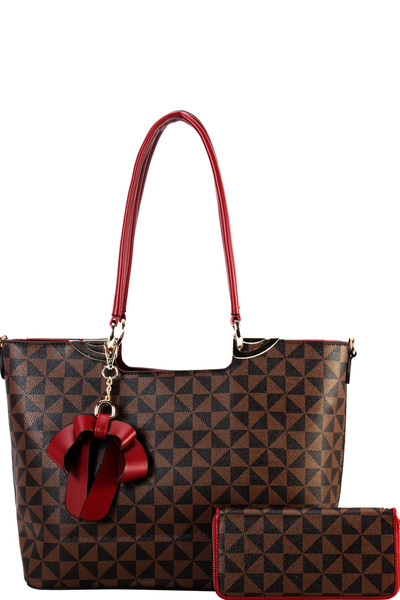Bow Accent Monogram Two-Tone Tote Wallet SET