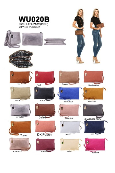 DISCOUNTED VOLUME SALE Fashion 3 compartments Clutch With Wrist band