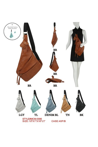 Fashion Zipper Sling Backpack With Hand Sanitizer Holder