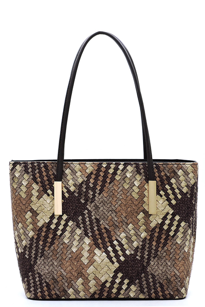 Woven Plaid Check Printed Shopper Tote