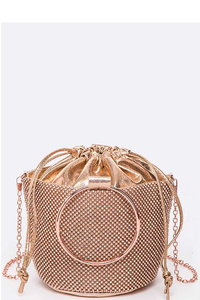 Convertible Drawstring Ring Handle Clutch Bag
