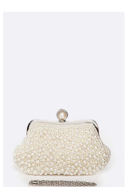 Mix Pearl Studded Soft Clutch