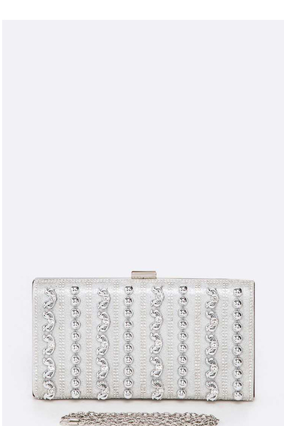 Crystal Mix Studs Iconic Box Clutch