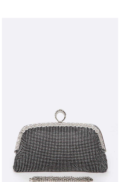 Iconic Ring Rhinestone Mesh Soft Clutch