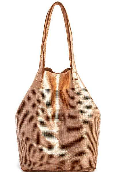 GENUINE LEATHER 2IN1 MESH TOTE BAG