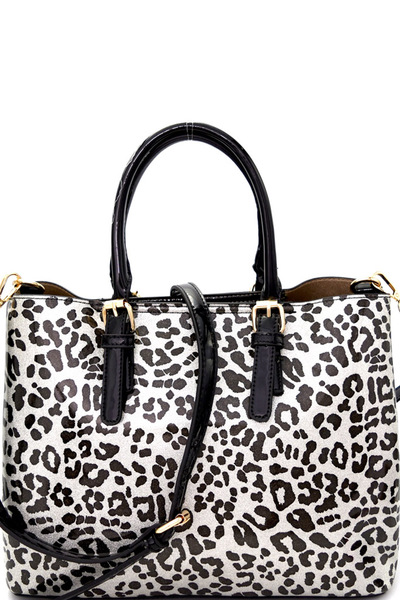 Buckle Accent 2-Face Leopard Print Patent 2 in 1 Tote