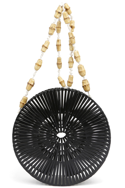 Circle Bamboo Crossbody With Beaded Strap