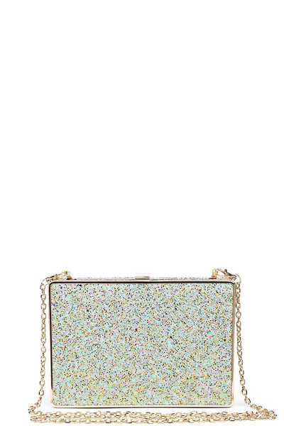 LUXURY EDITH GLITTER BOX CLUTCH WITH CHAIN
