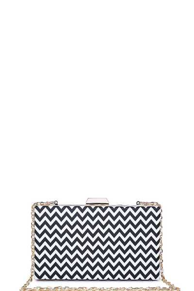 LUXURY MALTA HOUNDSTOOTH BOX CLUTCH BAG WITH CHAIN