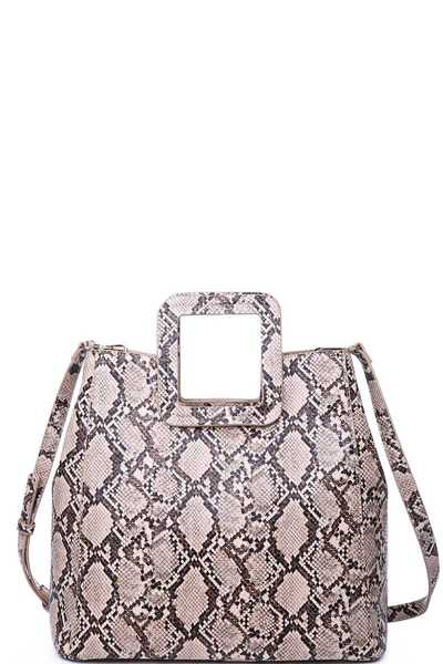 LUXURY MILA SNAKE SKIN TOTE BAG WITH LONG STRAP