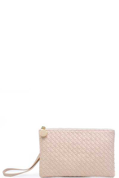 LUXURY JOAN VEGAN LEATHER WOVEN CLUTCH