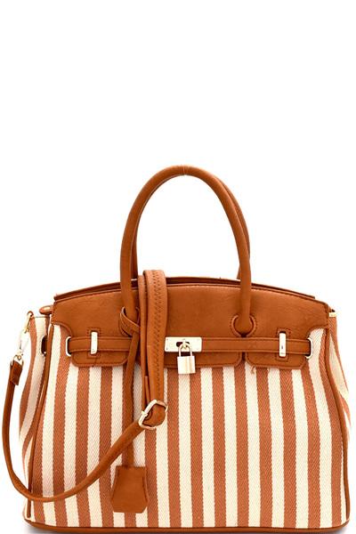 Pinstripe Print Canvas Padlock Accent Oversized Satchel