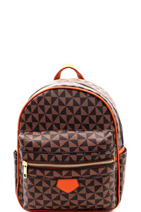 Multi-Pocket Monogram Two-Tone Fashion Backpack