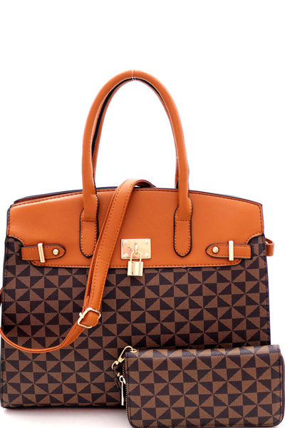 Padlock Accent Monogram 2-Way Structured Satchel Wallet SET