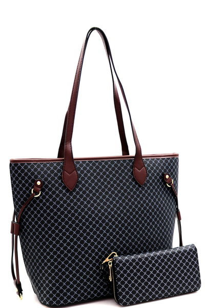 Monogram Checker Two-Tone Shopper Tote Wallet SET
