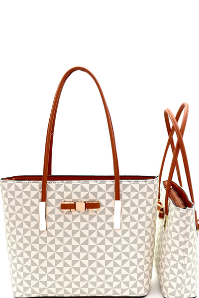 Bow Accent Monogram Two-Tone Twin Tote Value SET