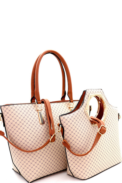 Checker Monogram Metal Handle Satchel 2 in 1 Tote Value SET