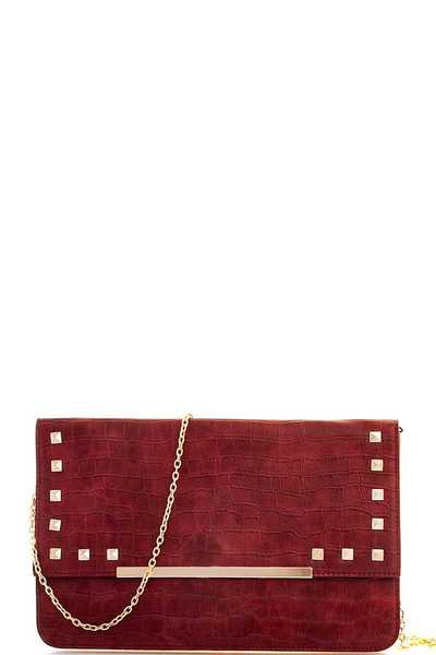LUXURY STUDDED AND CROCO PATTERN CLUTCH WITH CHAIN