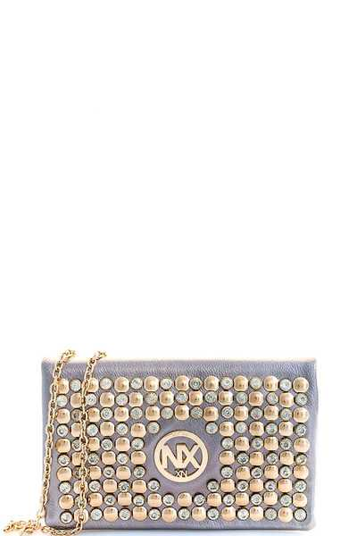 ALBA NX LOGO MULTI RHINESTONE CLUTCH WITH CHAIN