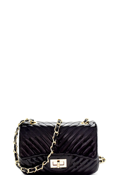 Chevron Quilted Patent Chain Shoulder Bag