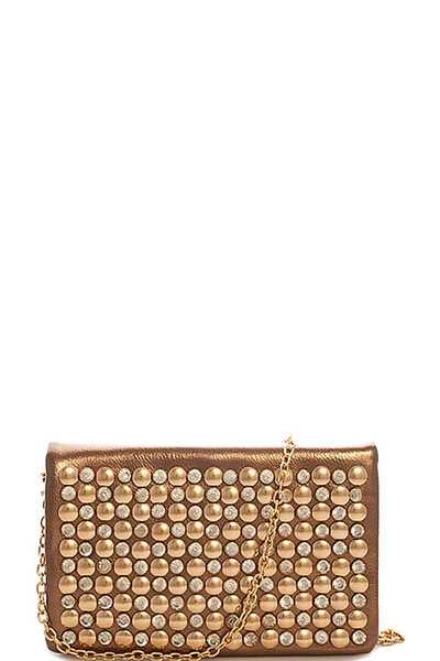 ALBA MULTI RHINESTONE STUDDED CLUTCH WITH CHAIN