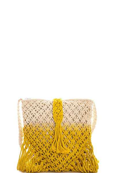 Triple 7 Street Level STRING WOVEN TASSEL CROSSBODY BAG