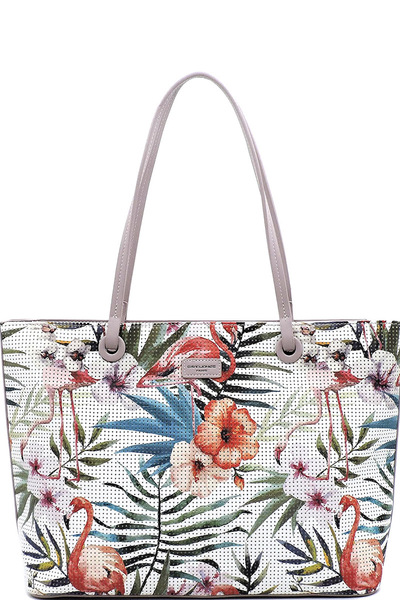 DAVID JONES Laser Cut Flower Flamingo Shopper