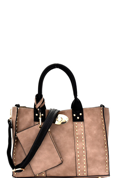 Turn-Lock Studded 3 in 1 Tote Bag