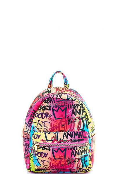 STYLISH COOL GRAFFITI DESIGN PRINT BACKPACK