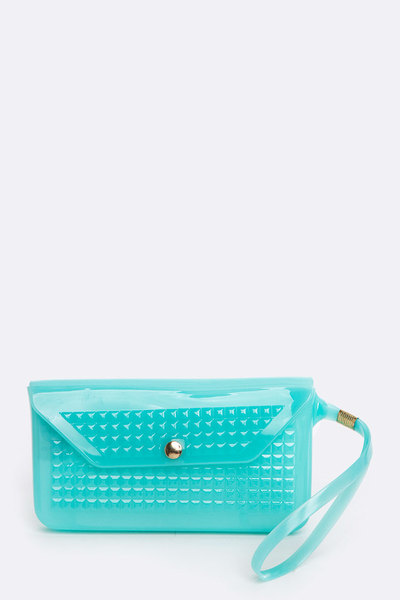 Pyramid Embossed Jelly Wristlet Pouch