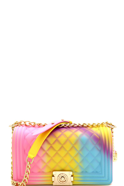 Multicolored Quilted 2 Way Jelly Shoulder Bag