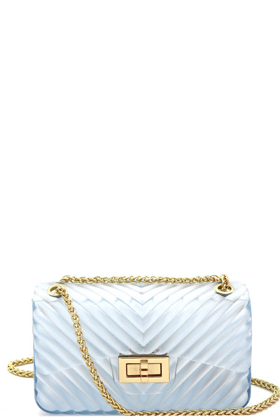 Translucent Chevron Embossed Jelly 2-Way Small Shoulder Bag