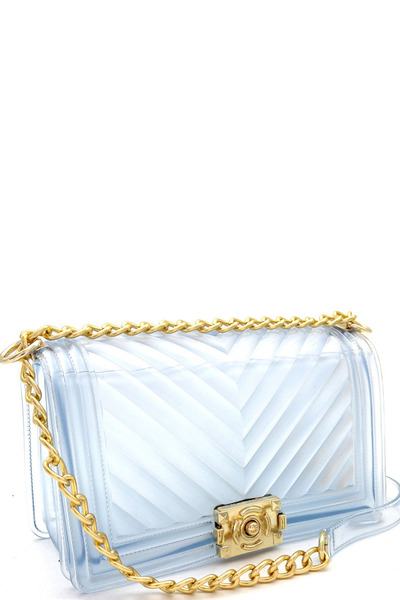 Translucent Chevron Embossed Jelly 2-Way Pinch-Lock Medium Shoulder Bag