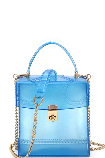 Translucent Top-handle Jelly Boxy 2 Way Satchel