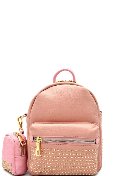 Stud Embellished Fashion Backpack With Coin Purse