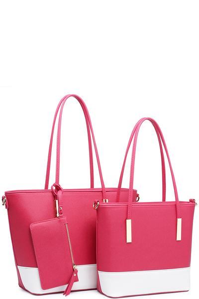 "Two Tone Color Trendy "" 3 In 1 "" Fashion Bag"
