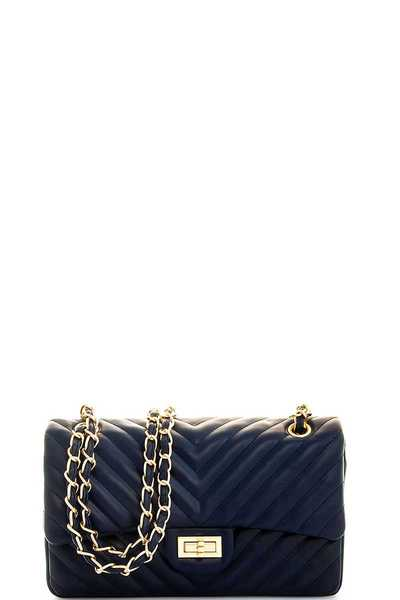 HOT TRENDY V-STITCHED CROSSBODY WITH LINKED CHAIN