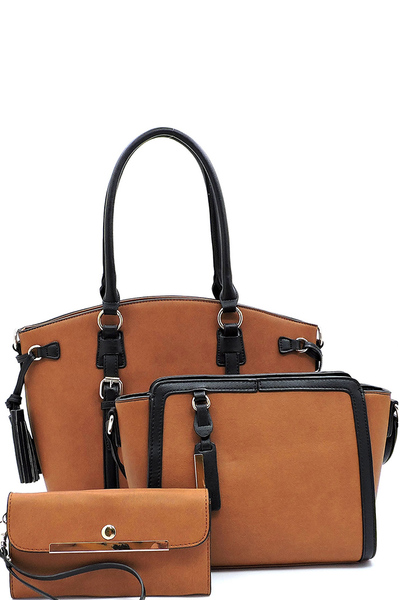 2 Toned Buckle 3-in-1 Satchel