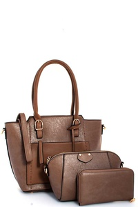 3IN1 CHIC SATCHEL CROSSBODY AND WALLET SET