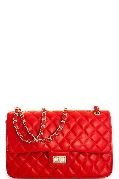 CHIC TRENDY STITCHED CLASSY SATCHEL WITH LINKED CHAIN