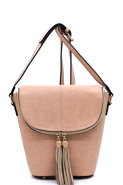 Fashion Tassel Flapover Bucket Crossbody Bag