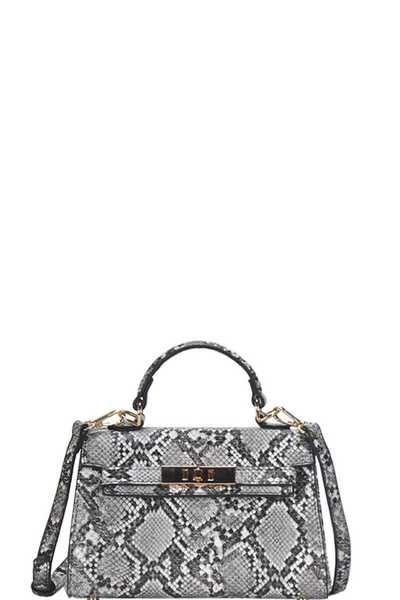 CUTE HOT TRENDY PYTHON SKIN TEXTURED MINI SATCHEL WITH LONG STRAP